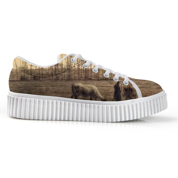 2019 New Trend Low Up Flats Shoes For Women's White Platform Bottom Board Shoes Female's Lace Up Canvas 3D Painting Print