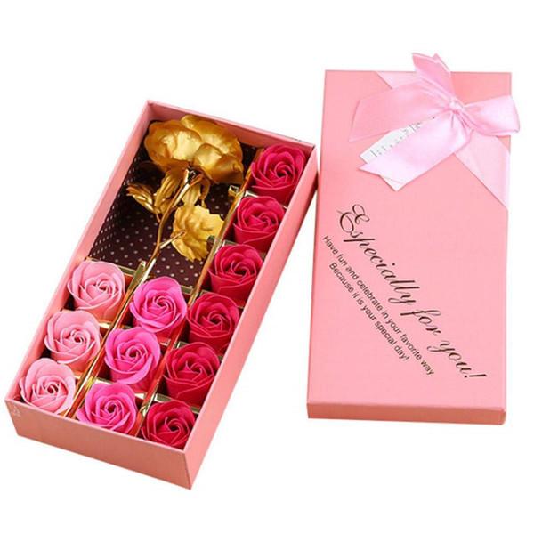 Caja de 12 piezas Flor rosa Flor de pétalos de jabón románticos con lámina de oro de 24 k Flores color de rosa para el Día de San Valentín Día de la Madre Aniversario de bodas