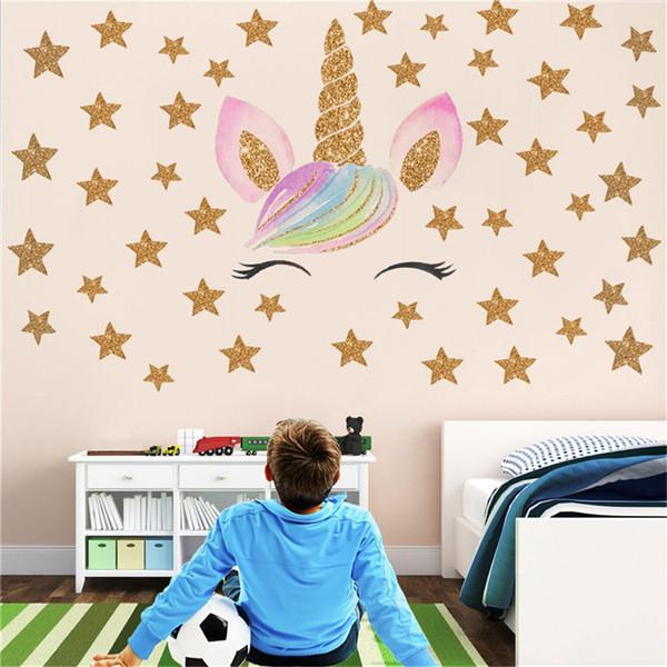 HOT Fantasy Unicorn Stars Rainbow Wall Sticker Girls Bedroom Wall Decal Art  Decal DIY Nursery Home Decor Home Wall Decals Quotes Home Wall Decor ...