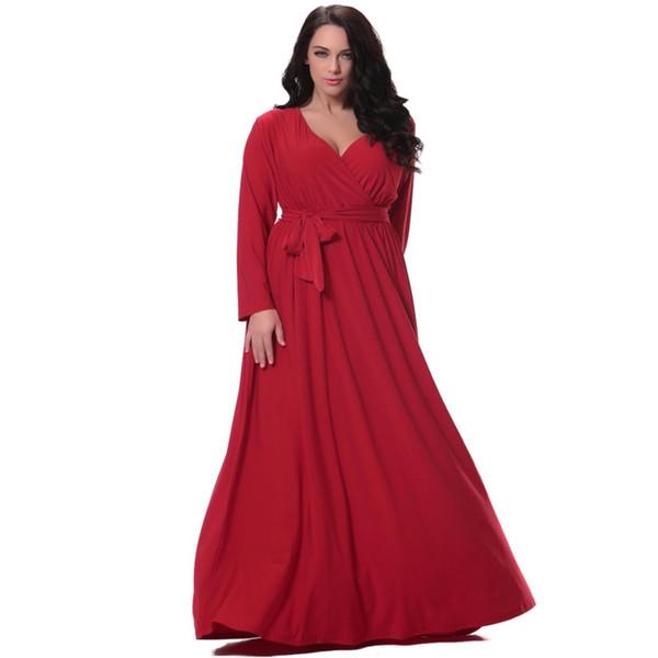 Женщин Красный длинное платье плюс размер 6xl полный рукав глубокий V шеи талией Рождественское платье длиной до пола платья Vestidos де феста Лонго