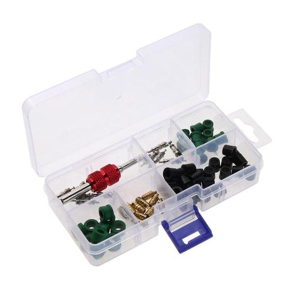 ac valve core VODOOL 71pcs/set A/C Rubber Gasket+ AC Valve Core+ Remover Tool Assortment Kit Auto Car Air Conditioning Assortment Remover