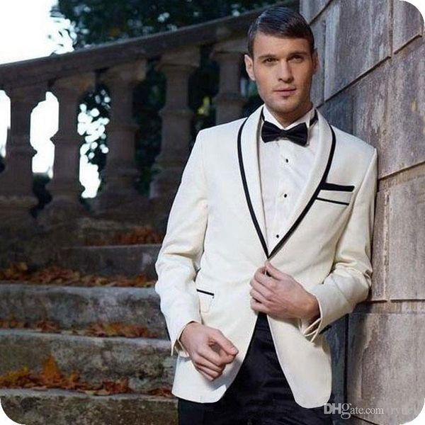 Custom Ivory Groom Tuxedo Men Suits for Wedding Black Shawl Lapel Best Man Blazer Jacket Pants 2Piece Slim Fit Terno Masculino Costume Homme