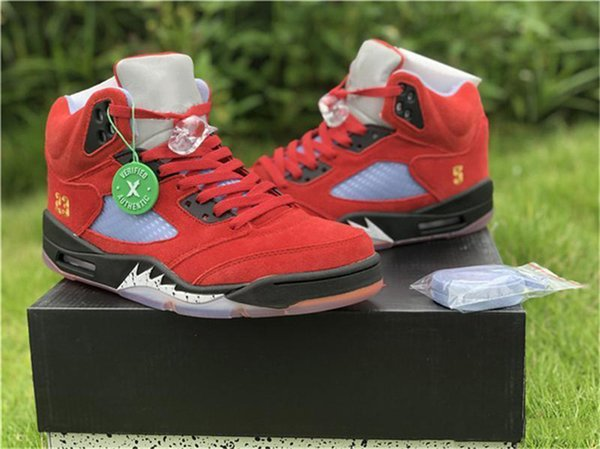 Newest 2019 Trophy Room Air 5 JSP Black Red Suede 5S Basketball Shoes Family and Friend Ice Blue CI1899-400 Outdoor Shoes With Box