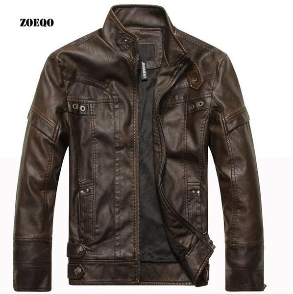 ZOEQO Yeni gelmesi marka motosiklet deri ceket erkekler, erkek deri ceket jaqueta de couro masculina, erkek deri ceketler mont D19011001