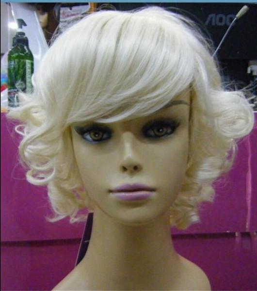 Parrucca bionda leggera parrucca corta parrucca riccia resistente al calore + regalo
