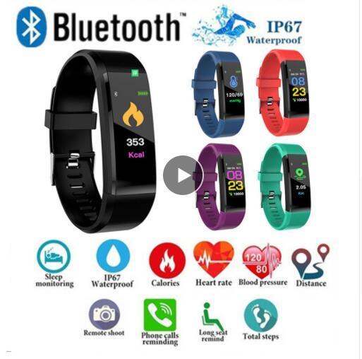 ID115 PLUS Schermo a colori Smart Bracelet Pedometro sportivo Orologio Fitness Running Walking Tracker Pedometro per la frequenza cardiaca Smart Band