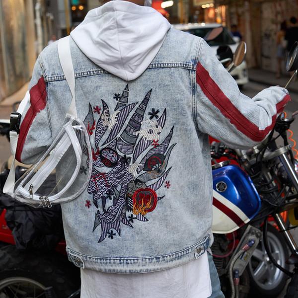 Giacca in denim ricamo lavato maschio autunno nuova moda stile Harajuku allentato colore contrastante stand collare giacca versione coreana mano