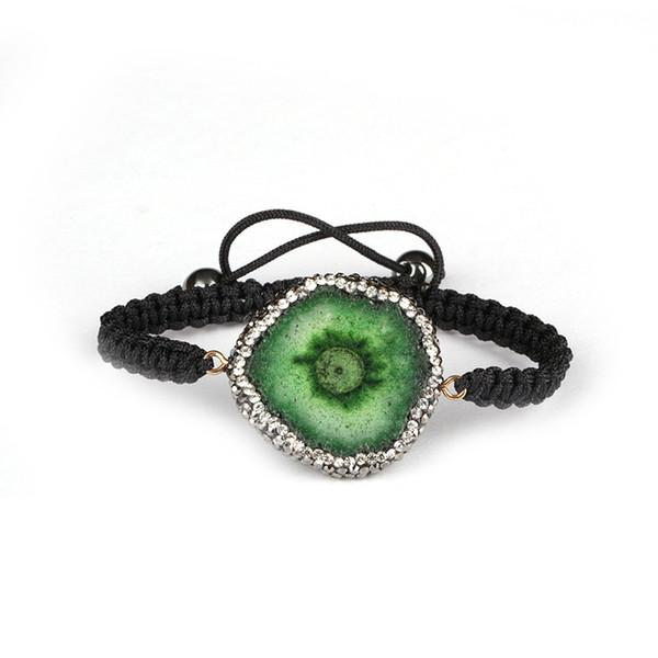 verde druzy cristallo pietra fetta tallone pavimentazione strass perline ematite fine perlina fascino nero corda macrame bracciale unisex