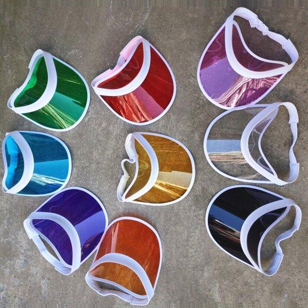 Summer Transparent Colorful Plastic PVC Sun Visor Caps UV protection Sunshade Sea Beach Hats Gorros