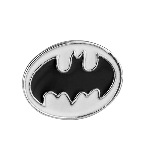 The Avengers 3 Color blanco Superhéroe Batman Logo Broches de metal Pin Bat Broche para hombre Ropa Accesorios