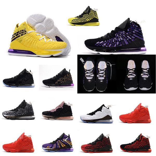 Acquista A Buon Mercato Nuove Scarpe Da Basket Lebron 17 In Vendita Viola Giallo Oro Bagliore Scuro MVP BHM Oreo Bambini Lebrons James Xvii Sneakers