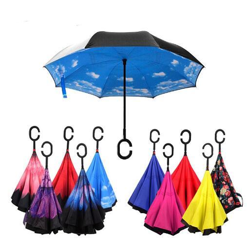 Umbrella inverted double sunscreen sunshade reverse c handle ladies umbrella mens protective inverted umbrella windproof DHL Free shipping