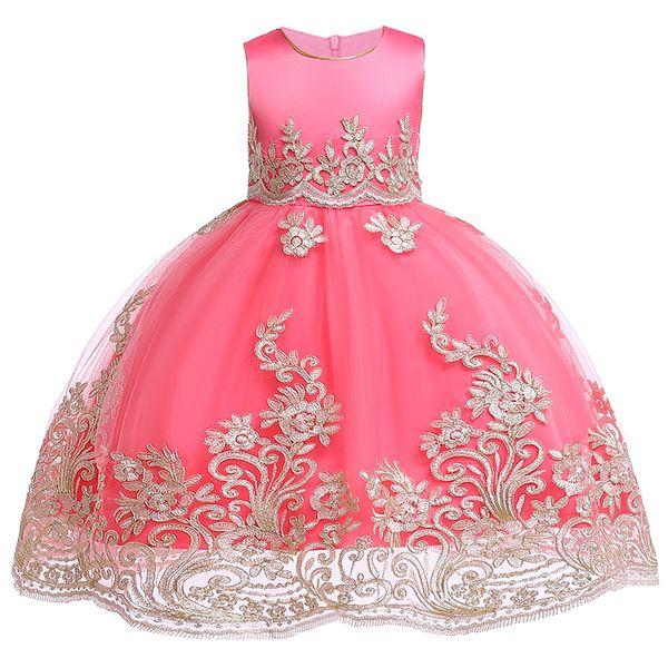 Ragazze dei capretti ricamati ragazza di fiore abiti da principessa formale abito del partito per i bambini abito da ballo di nozze 3 4 5 6 7 8 9 10 anni Y19061701