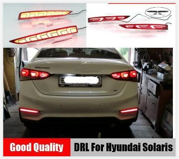 top popular 2PCS For Hyundai Solaris Accent 2017 2018 Multi-functions Car LED Rear Fog Lamp Bumper Light Auto Brake Light Reflector 2021