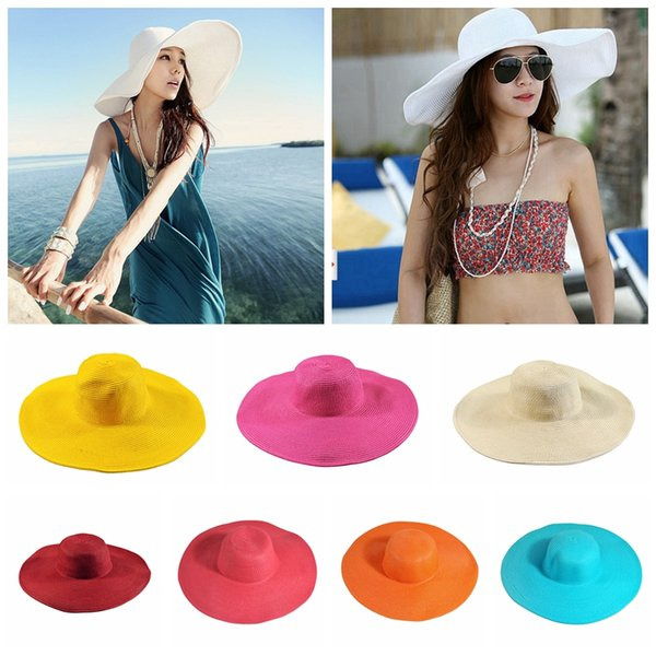 Womens Beach Straw Sun Hats Fashion Wide Brim Travel Sunshade Cap Outdoor Casual Soft Candy Color Sun Hats TTA656