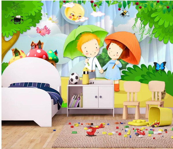 Romantic Couple 3d Cartoon Children Room Kids Room Background Wall Painting Wallpapers Of Nature Wallpapers On Desktop From Wallpaper20151688 1639