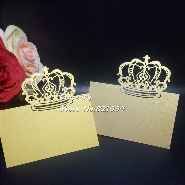 Laser Cut Hollow Crown Design Paper Name Place Cards Wedding Invitation Cards Party Table Home Decoration Holiday Cards Holiday Christmas Cards From