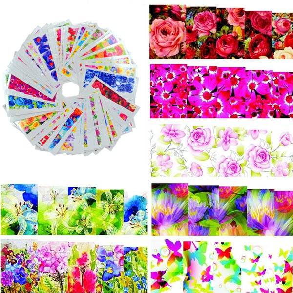 Art Stickers Decals 50sheets Fashion Hot Designs Watermark Nail Stickers Temporary Tattoos DIY Tips Nail Art Decals Manicure Beauty Tools