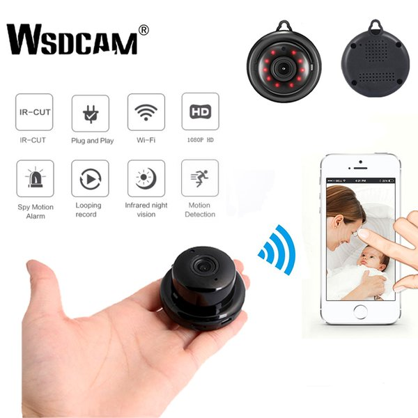 Wsdcam Seguridad para el hogar MINI WIFI 1080 P Cámara IP inalámbrica CCTV por infrarrojos Visión nocturna Detección de movimiento Ranura para tarjeta SD Audio APP