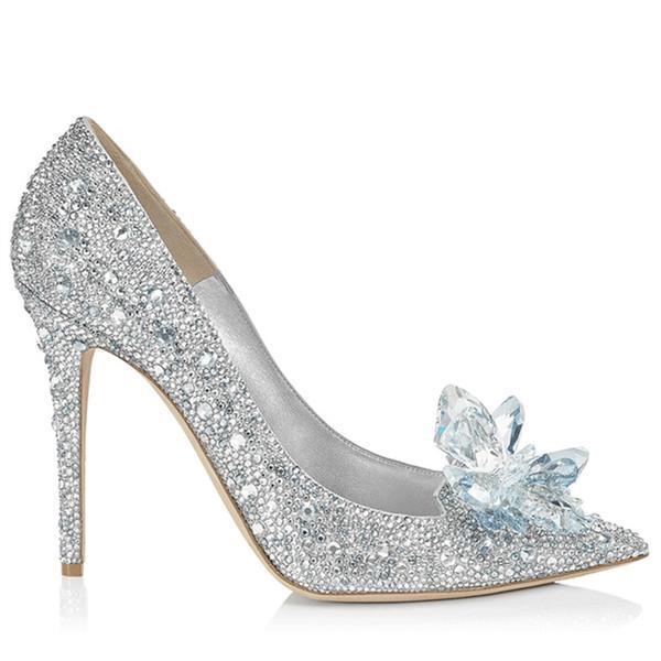 2019 New Paris Grade Cinderella Crystal Shoes Bridal Rhinestone Wedding Shoes With Flower Genuine Leather Big Small Size