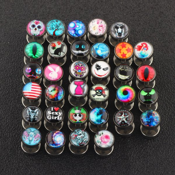 top popular Mix 25 Designs Body Piercing Jewelry Cheater Ear Gauges Plugs and Tunnels 50pcs lot Pircing Fake Ear Plug 2021