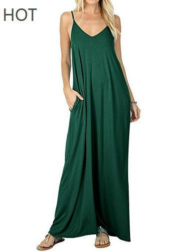 Dress Maxi Summer Beach Clothes Casual Long Dresses Bohemian Backless Spaghetti Straps Pure Color Modal Pocket Swing Women Dresses Sexy