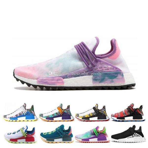 Running Course Humaine Trail Nouvelles Chaussures Hommes Femmes Pharrell Williams HU Runner Jaune Noir Blanc SOLAR PACK Sneaker Sport Runner Bleu