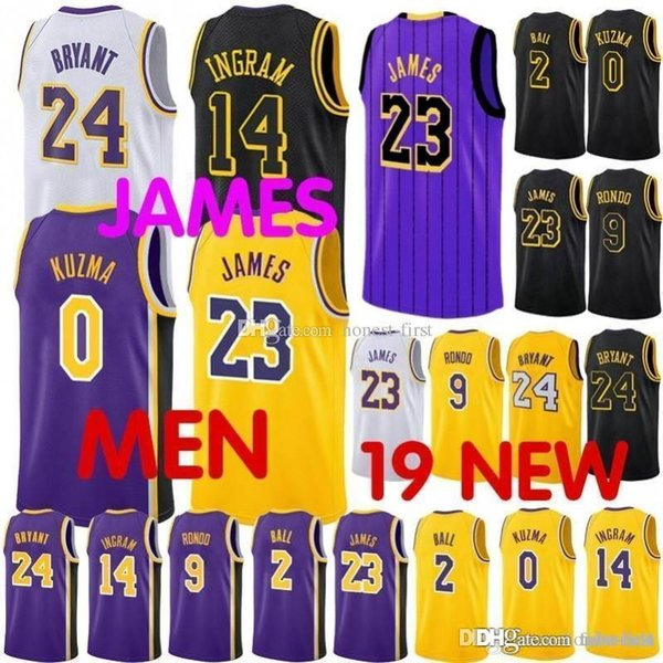 new products 603d3 2f802 2019 23 James Lakers Jersey 2019 City Los Angeles James Lakers Basketball  Jerseys 2 Lonzo LeBron Ball 0 Kuzma 14 Brandon Kyle Ingram Youth Black From  ...