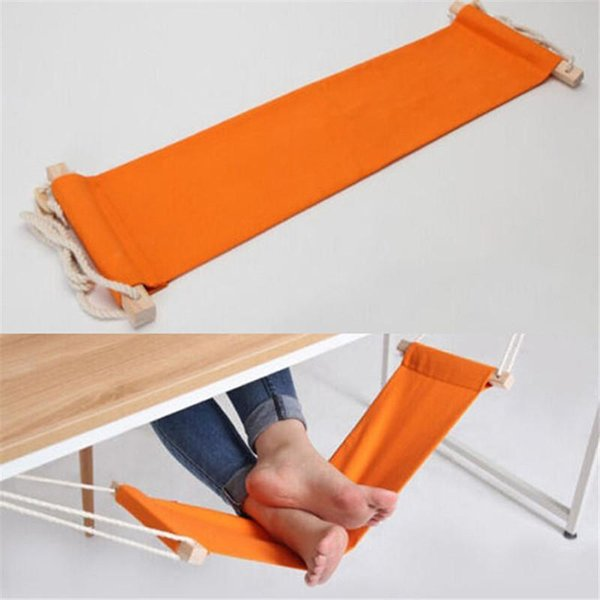 Wholesale- Portable Mini Foot Rest Stand Desk Feet Hammock FUUT Confortable Office Feet Hammock Orange IC872426