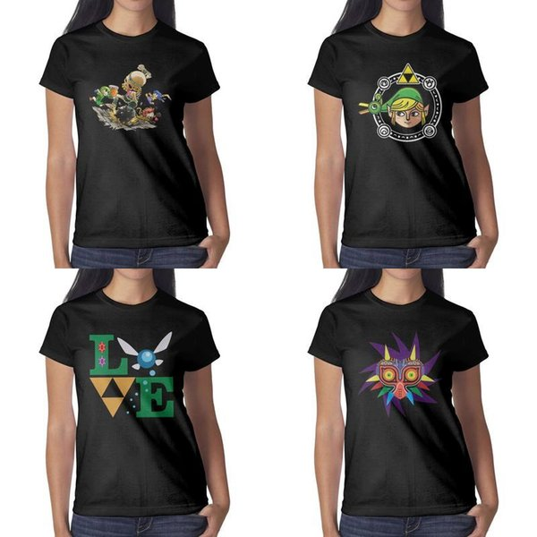 Das Designdrucken der Frauen Legende von zelda majoras Maskenvektorschwarz-T-Shirt lustiger grafischer Superheldfreundhemd-Hip-Hop-Hemdsport