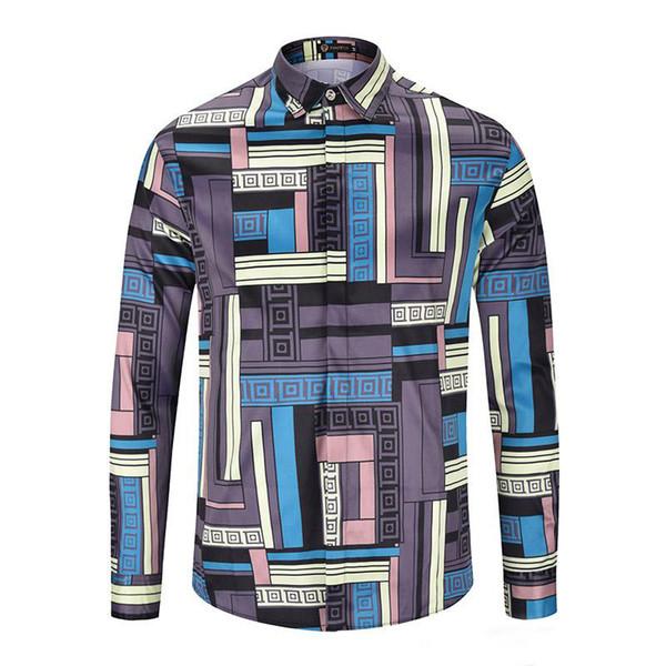 2019 Luxury Designer Men's Business Casual Shirt Mens Long Sleeve Striped Slim Fit Social Plaid Shirts Fashion Shirt