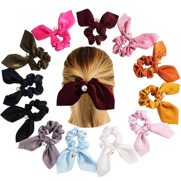 Pearl Pendant Elastic Hair Scrunchie Scrunchy Hairbands Head Band Ponytail Holder Women Girls Larger Bow Hair Accessories Satin Bow
