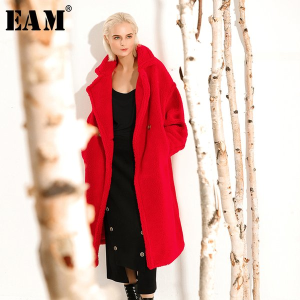 [EAM] Cappotto in lana sintetica oversize in pelliccia sintetica di grandi dimensioni Cappotto in lana Parka New Manica lunga Moda donna Marea Autunno Inverno 2019 1A414