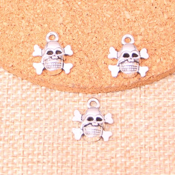 109pcs Antique Silver Plated Skull Bone Charms Pendants fit Making Bracelet Necklace Jewelry Findings Jewelry Diy Craft 14*13mm
