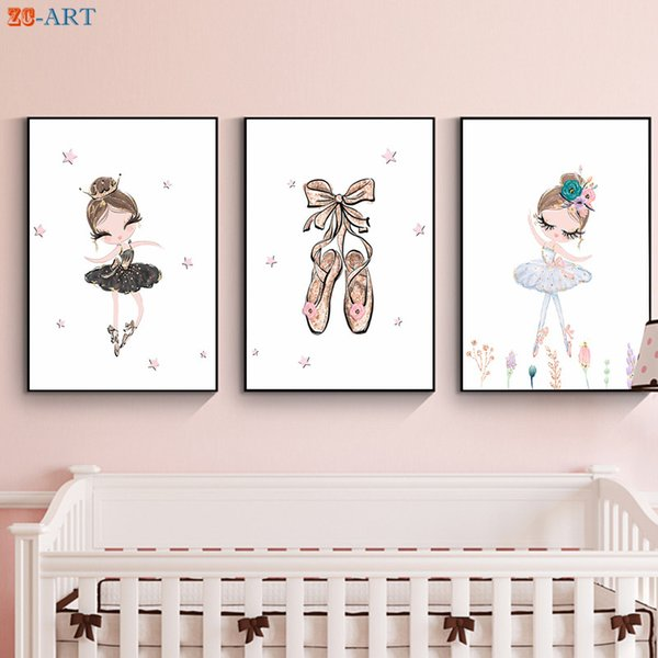 Ballerina Art Print Poster Cute Canvas Painting Pink Gold Purple Wall Art Nursery Girls Room Decoration Pictures Gift for Girl