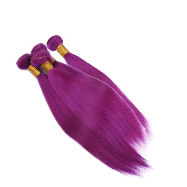 Double Wefted Purple Color Brazilian Silky Straight Hair Bundles 4Pcs Purple Color Human Hair Weft Extensions 4Bundles For Woman