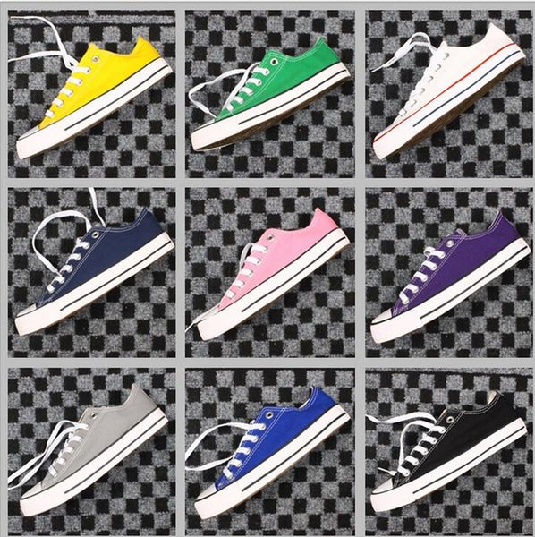 15 Color New Big Size 35-46 High Top Casual Shoes Low Top Style Sports Classic Canvas Shoe Sneakers Men's/Women's Canvas Shoes 2019