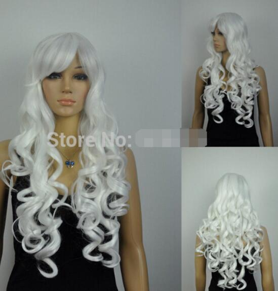 FREE SHIPPING + ++ + women long curly wavy white cosplay hair wig Oblique Bangs synthetic wig