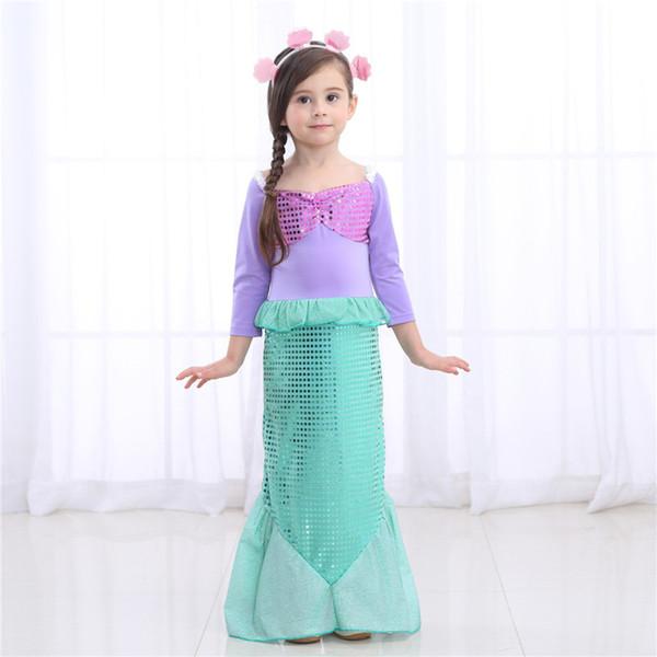 Kızlar uzun kollu Mermaid prenses Elbise Çocuklar Pul fishtail etek Kabuk şekli ile saç bandı ins sıcak trendy parti elbiseler doğum günü çünkü