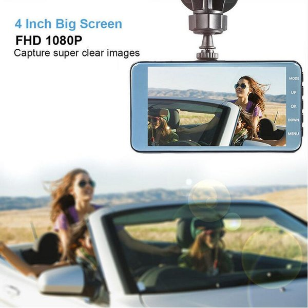 QUIDUX Car DVR Dash Cam Video Recorder Front + Rear Camera Dual Lens Night Vision Motion Detection Car Dash camera