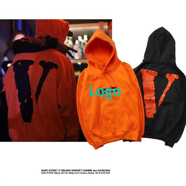 Brand Mens Womens Hoodies Faahion Designer Behind The Big V Print Word Hooded Plus Velvet Sweater Size M-xxl