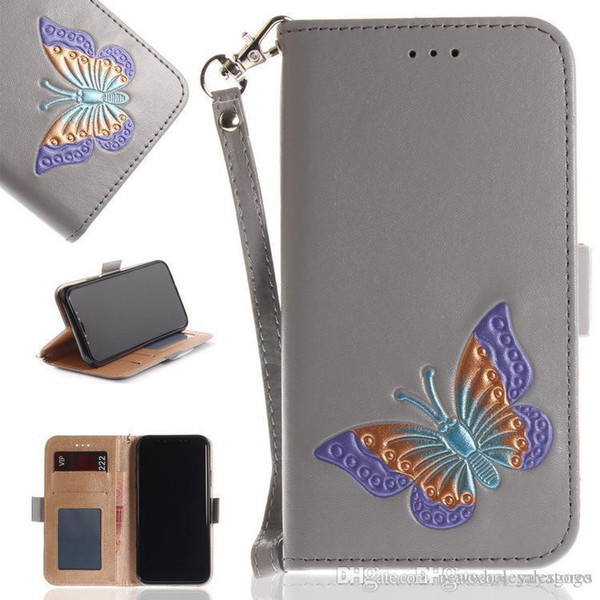 W Porta cellulare a forma di farfalla dipinta a mano Portafoglio Astuccio per carte Pulsanti magnetici in rilievo con farfalla colorata Custodie per telefoni Cover per iPhone Samsung