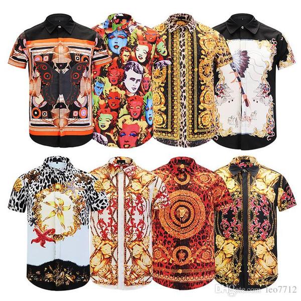 HOT 2017 Autumn winter Harajuku Medusa gold chain Dog Rose print Casual shirts Fashion Retro floral sweater Men long sleeve Dress shirts