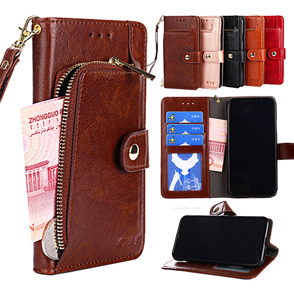 wholesale Leather Wallet Flip Case Phone Cover For Motorola MOTO G7 Power G6 G5S G5 G4 E5 C plus Z2 Z3 play X4 with Stand and card slot