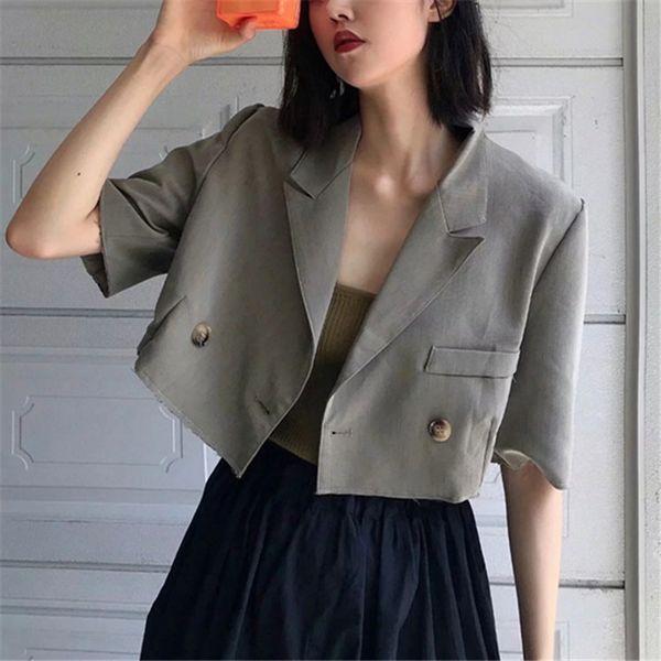 Элегантные короткие двубортные женские пиджаки и куртки 2019 повседневная осень с рукавами с надрезом офис леди блейзер Feminino топы