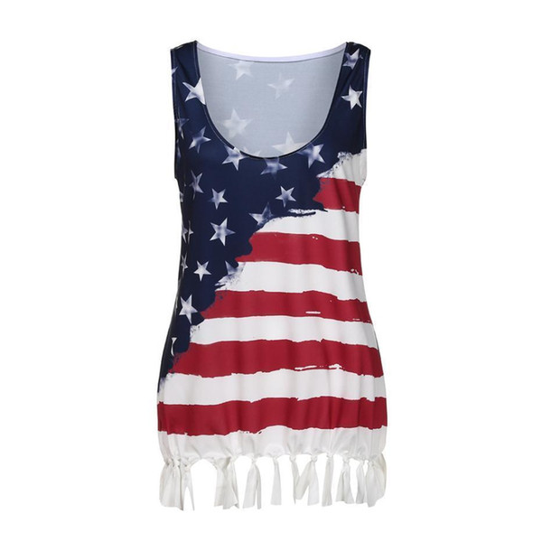 Harajuku Women T-Shirt Pulse Size 5XL Flag Printing hot girl Vest Tassel casual summer crop Tops lady Clothes Vetement Femme