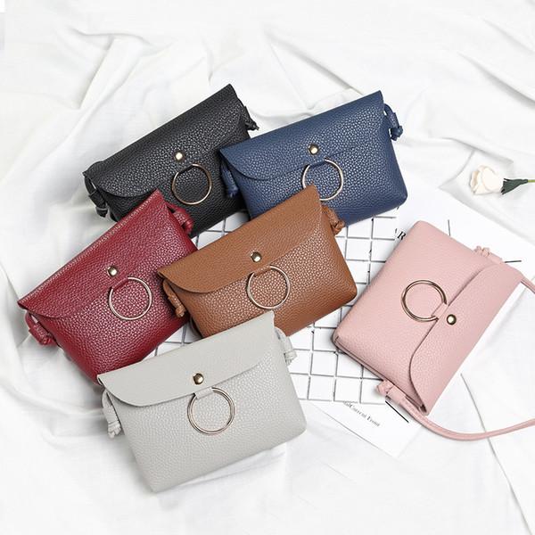 Cheap Fashion PU Leather Single Shoulder Bags For Women 2018 Hot Patchwork Color Metal Circle Handbags Flap Bag Mini Makeup Bags