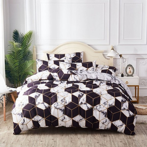 Nordic schwarzes geometrisches Muster Marmor Bettwäsche-Sets Bettbezug Pillowcase 2 / 3pcs Bett Set Single Queen König Bettbezug kein Blatt