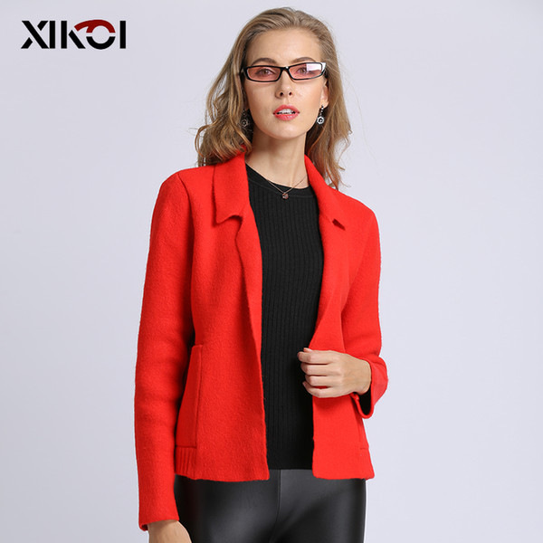 xikoi 2019 fashion women jacket solid coat casual lady computer knitting open stitch with pocket woman cardigans long sleeve