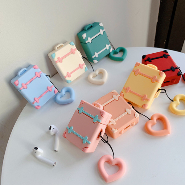 Silicone Earphone Case Cover heart Cute Earphone Cases with Hook For phone Earbuds storage Bag party favor FFA2200